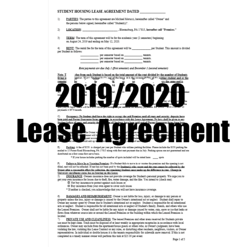 2019/2020 Lease Agreement